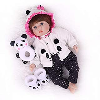 CHAREX Baby Reborn Dolls 18 inch Lucy Lifelike Newborn Real Life Soft Silicone Baby Doll with Panda Gift Set for Children Girls