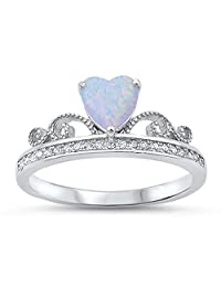 Sterling Silver Princess Tiara Crown White Lab Heart New Promise Ring Sizes 4-10