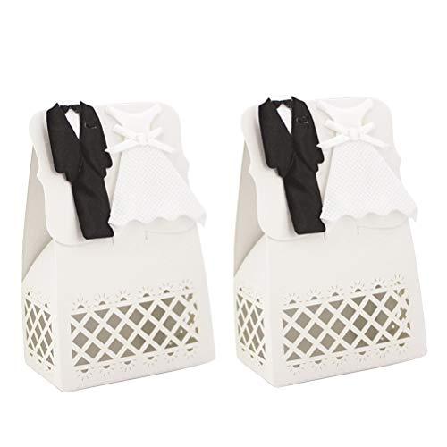 Amosfun Gift Candy Wedding Treat Boxes Box Paper Handbag with Bride Groom Decoration 12pcs