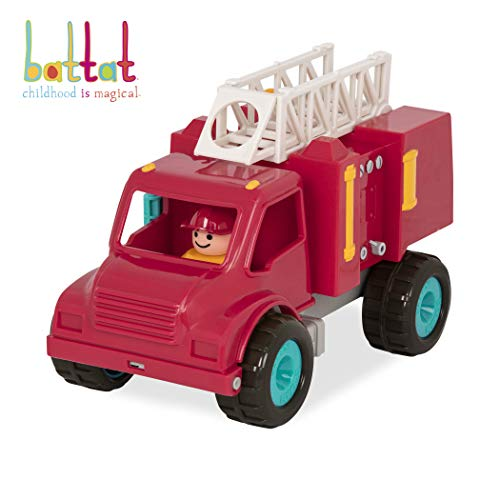 Battat Fire Engine Truck with Working Movable Parts and 2 Firefighters Figurines - Toy Trucks for Toddlers 18m+ (Talking Fire Truck)