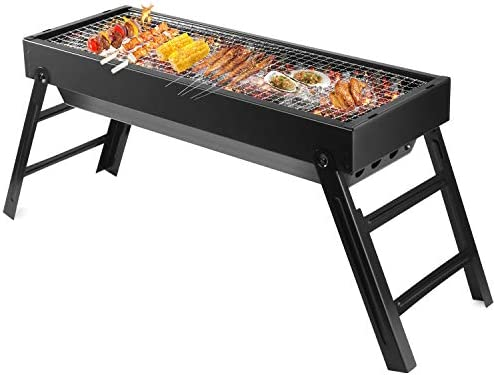 LETION UTTORA Charcoal Grill Barbecue Portable BBQ Stainless Steel Folding Grill Tabletop Outdoor Smoker BBQ for Picnic Garden Terrace Camping Travel 23.62 x8.66 x12.4