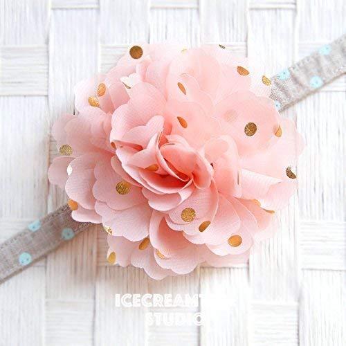 Jumbo Gold Foil Dot Bloom Collar Slide On, Flower Collar Accessories, Corsage Accessories, Collar Add On, Collar Flower - Peach