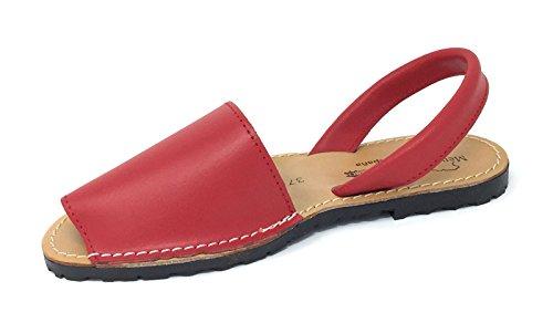 de para Menorquinas Cómodas Sandalias Rojo Mujer Muy 39 Piel Tipo OddwBqE