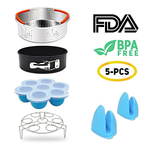 5 PCS Stackable Instant Pot Accessories Set - Vegetable Steamer Basket, Egg Bites Molds, Springform Pan, Egg Steamer Rack and Anti-scald Gloves, Fit 5/6 / 8 qt Instapot and Pressure Cooker by Lamoe (Image #7)