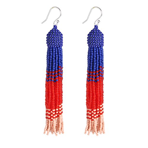 Bonnie Tassel Earring Bead Statement Dangle Drop Seed Glass Hook Earrings (Blue&Red) -