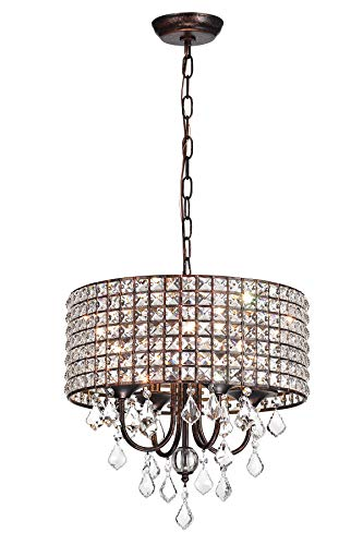 Edvivi 4-Light Antique Copper Square Beaded Round Drum Shade Chandelier with Crystals | Glam Lighting