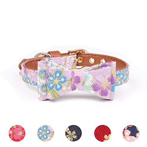 Leepets Small Dog Collar with Bow Tie Cute Leather Puppy Bow Collar for Girl Cat Collar for Kitten Adjustable Metal Buckle,(Extra Small, Purple Floral) ()