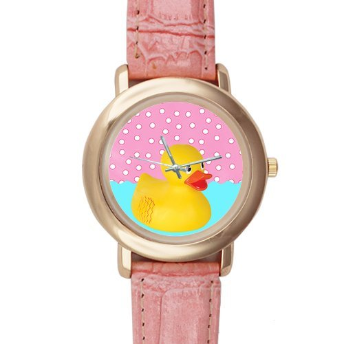 Gifts for girls or ladies Funny Yellow Rubber Ducky Pink Leather Alloy High-grade Watch