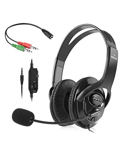 Insten Gaming Headset with Mic compatible with PS4 xBox One Nintendo Switch Fortnite In Game Play Chat PC Game, 3.5mm Universal Stereo Over-Ear Headphones Flexible Microphone (Free adapter for Old PC)