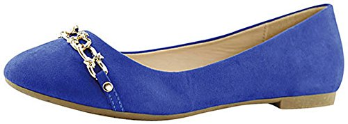 Blue Royal Toe Round Slip on Chain Women's Ballet Closed Dress Flat Bella Marie wOpx76qOB