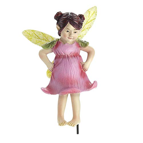 Ginny Pink Rose Pouty Fairy Stake GO 17701 Miniature Fairy Garden