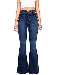 Vibrant Women's Juniors High Rise Button Fly Flare Jeans (3, Dark Denim)