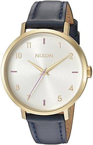 Nixon Women's 'Arrow' Quartz Metal and Leather Watch, Color:Blue (Model: A1091151-00)