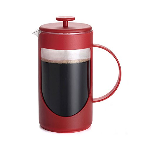 BonJour Coffee Unbreakable Plastic French Press, 33.8-Ounce, Ami-Matin, Red