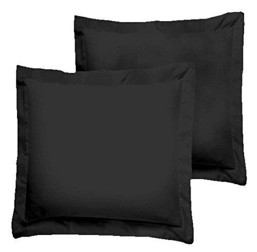 Black Pillow Shams Set of 2 - Luxury 580 Thread Count 100% Egyptian Cotton Cushion Cover Euro Size Decorative Pillow Cover Tailored Poplin European Pillow Sham (2 Pack, Euro (Euro Sham Set)