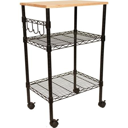 Wood top Multi-Purpose Cart, Black Color with Open shelves and added hooks