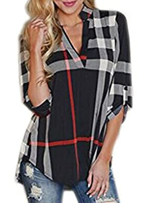 Elevesee Women's Casual 2/3 Sleeve V-Neck Plaid shirts Pullover Top