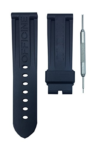 Black Diver Watch Strap Replacement Band For Luminor 24mm | Free Spring Bar Tool by WatchBandHouse