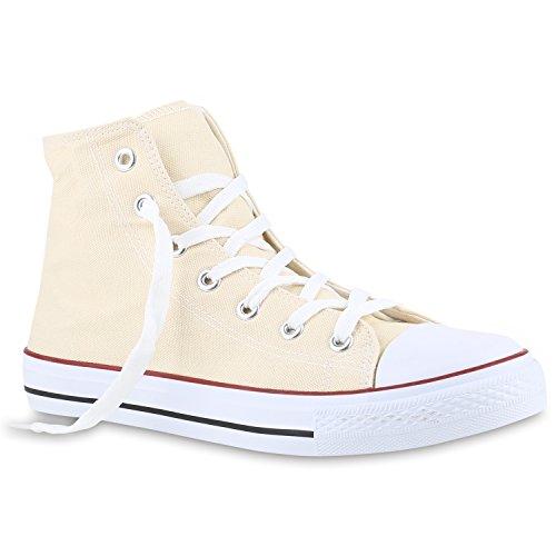 Stiefelparadies Herren Sneakers High Top Sportschuhe Freizeit Schnürer Stoffschuhe Flandell Creme