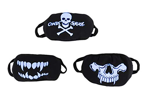 3 Pack Personalized Fluorescent Luminous Mouth Mask Breathable Washable Cotton Mask Anti-dust Fashion Horror Skull Head Teeth Pattern Halloween Mask for Men Women for $<!--$4.99-->