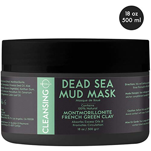 O Naturals Cleansing Dead Sea Mud Mask with French Green Clay, Natural, Vegan Face & Body Mask. Exfoliating, Absorbing Excess Oils, Reducing Acne, Promoting Circulation & Tightening Pores. 18 Oz.