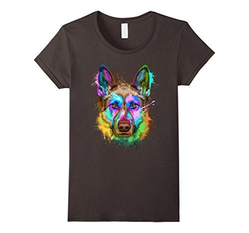 Womens Splash Art German shepherd T-Shirt | Shepherd Lovers Gifts XL Asphalt (Women Splash)
