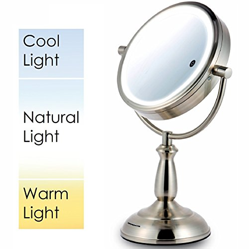 Ovente 7.5'' Lighted Tabletop Mirror, SmartTouch Cool, Warm, Daylight LED Tones (1X5X, Brushed) by Ovente (Image #1)