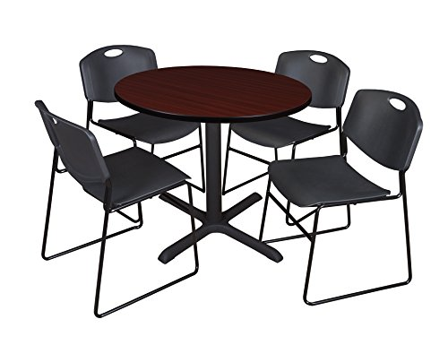 "Cain 36"" Round Breakroom Table- Mahogany & 4 Zeng Stack Chairs- Black"