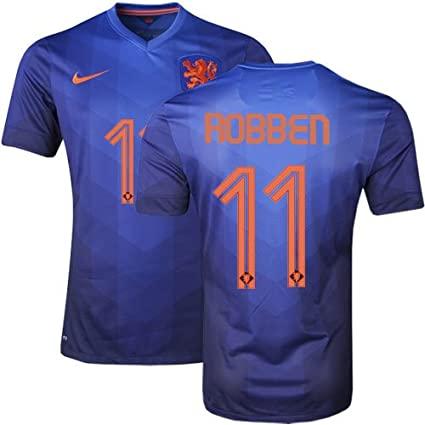 8e7a573d1 Amazon.com   Nike Authentic Arjen Robben  11 Holland Netherlands Dutch 2014  FIFA World Cup X-Large Blue Away Players Issue Soccer Jersey   Sports    Outdoors