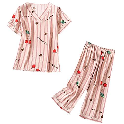 - Summer Pajamas for Women Stripe Print Cute Sleepwear Set Casual Capri Lounge Pants (XXL, Yellow)