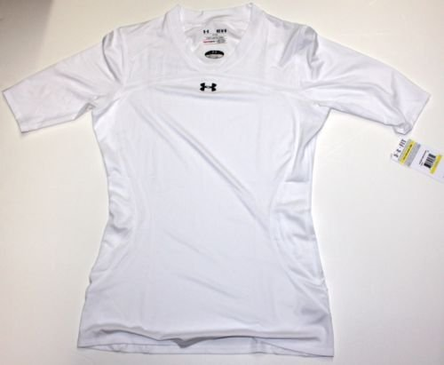New Women's Under Armour Volleyball Heat Gear Jersey Fitted Shirt White Large by Headline Sports