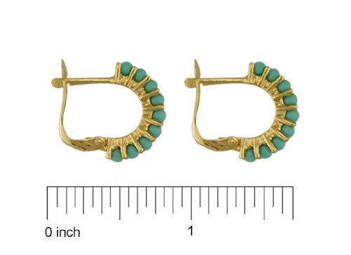 13mm 18K Yellow Gold simulated turquoise made from turquoise paste Half Hoops