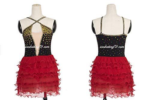 Ice Skating Dress/Girl Custom/Figure Skating Clothe/Twirling/Leotard/Baton Custom/Women/Black/Red Layers/Gold Crystal