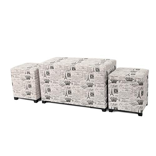 - Adeco 3 Pieces Fabric Script Pattern Rectangular Ottoman Storage Bench Foot Rest and Seat, Neutral Beige Color