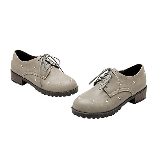 VogueZone009 Women's Round-Toe Lace-up PU Solid Low-Heels Court Shoes Gray D1FAr