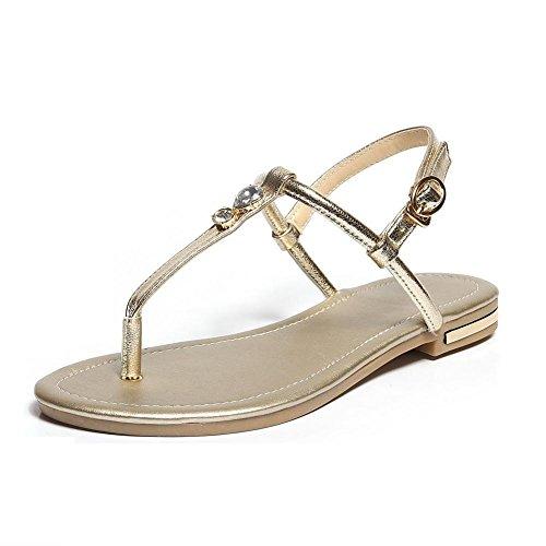 Solid Sandals Heel Split Flip WeenFashion Buckle No Gold Soft Women's Flop Material Toe q0qwPa