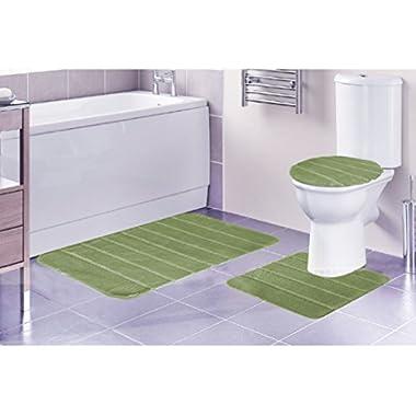 Louise Ribbed 3 Piece Bathroom Rug Set, Bath Rug, Contour Rug, Lid Cover (Olive)