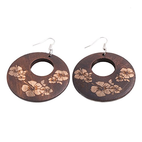 EVBEA Vintage Big Round Statement Flower Wood Dangle Earrings for Women (Brown)