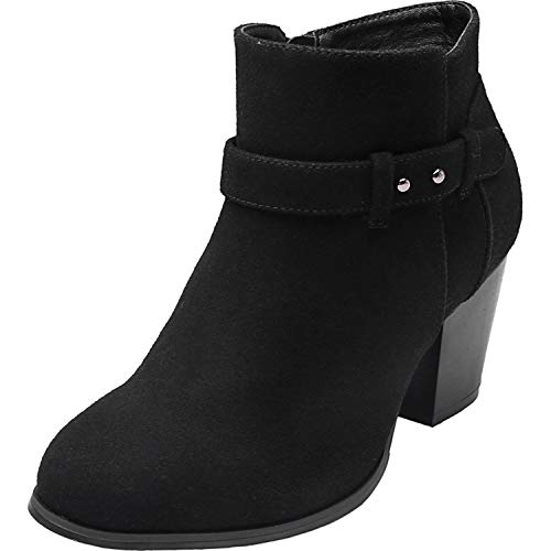 Luoika Women's Wide Width Ankle Boots - Side Zipper Buckle Strap Mid Block Heel Round Closed Toe Booties.(180616,Black FS,11.5WW) - Mid Heel Leather Insoles