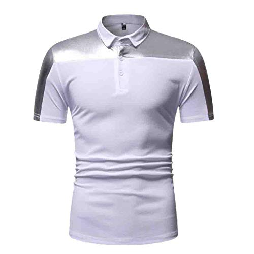 Patchwork Pique Polo Shirt for Men,Regular-Fit Quick-Dry Henley T Shirt Short-Sleeve Casual Comfort Golf Jersey by Leegor White