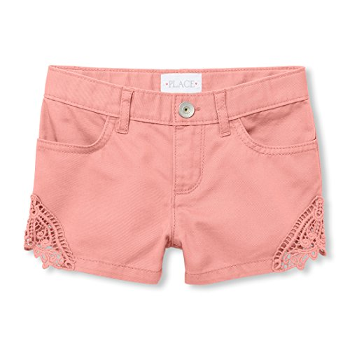 (The Children's Place Big Girls' Crochet Trim Short, Fruit Cocktail,)