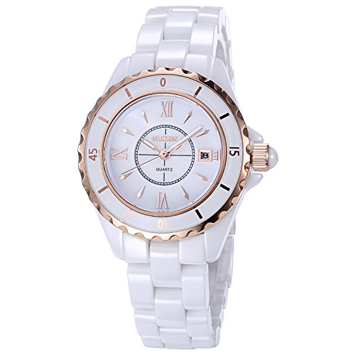Women's Quartz Watch NAKZEN Fashion White Analogue Watches Stainless Steel Waterproof Watch with Ceramic Band and Date Window Top Brand ()