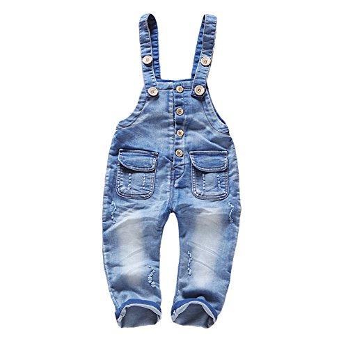 Kidscool Baby & Toddler Girls Denim Blue Cardigan Adjustable Jean Overalls,Blue,3-4 Years