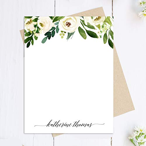 Personalized Note Card Set - White Floral - Stationary Cards Monogram - Set of 12