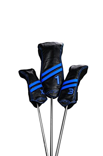Sun Mountain Striped Leather Driver Headcover Black/Cobalt