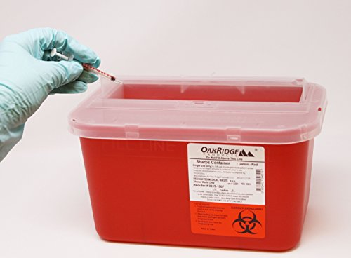 One Gallon Sharps Containers with Pop up Lid (Two Pack) by OakRidge Products (Image #1)