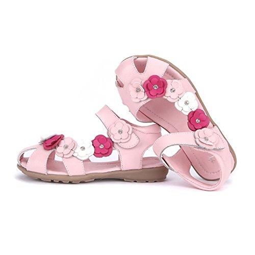 hibote Mädchen Leder Sandalen Mode Blume Flip-Flop flache Prinzessin Kleid Sommer Schuhe für Baby Mädchen Kinder Kleinkind Rosa