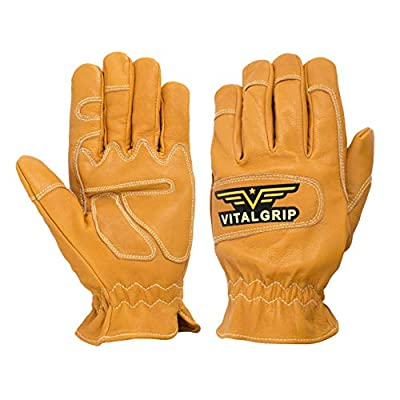 VitalGrip Vital-Elk Work Gloves for Men and Women, Made of Goatskin Leather with Kevlar Stitched Double-Layer Palms, Fingers and Knuckles [Size]