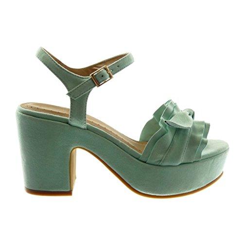 5 Caviglia Decollete con con Volant Nodo Turchese a Scarpe Alto Blocco con cm Moda Fibbia Donna Tacco Zeppe Angkorly 8 Cinturino alla Tacco Sandali tc1wYqtz