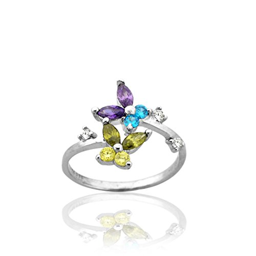 925 Sterling Silver Adjustable Beautiful Butterfly Toe Ring with (Butterfly Silver Toe Ring)